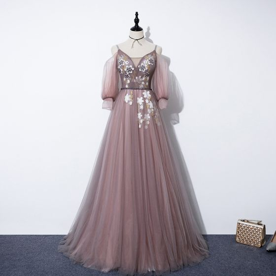 Fairytale Pearl Pink Evening Dresses  2020 A-Line / Princess V-Neck Detachable Puffy 3/4 Sleeve Appliques Flower Beading Sash Sweep Train Ruffle Backless Formal Dresses