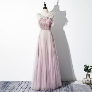 Charming Blushing Pink Evening Dresses  2020 A-Line / Princess V-Neck Beading Sequins Sleeveless Backless Floor-Length / Long Formal Dresses