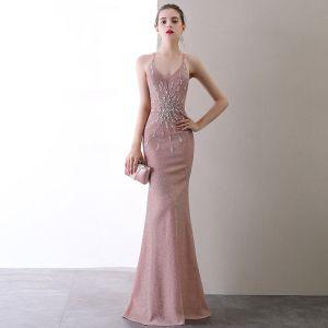 Sexy Rosa Abendkleider 2020 Meerjungfrau Spaghettiträger Perlenstickerei Pailletten Ärmellos Rückenfreies Lange Festliche Kleider