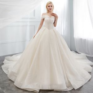 Sparkly Ivory Wedding Dresses 2018 Ball Gown Off-The-Shoulder Backless Sleeveless Cathedral Train Wedding