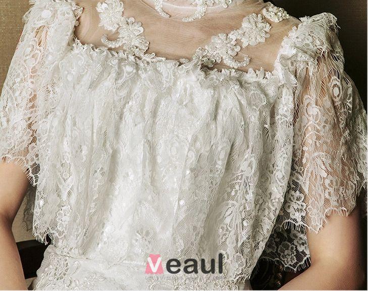 2015 Trumpet/ Mermaid Princess Sleeves Handmade Flowers Lace Wedding Dress