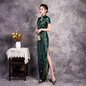 Estilo Chino Verde Lentejuelas Cheongsam Vestidos de noche 2020 Trumpet / Mermaid Cuello Alto Manga Corta Delante De Split Largos Vestidos Formales