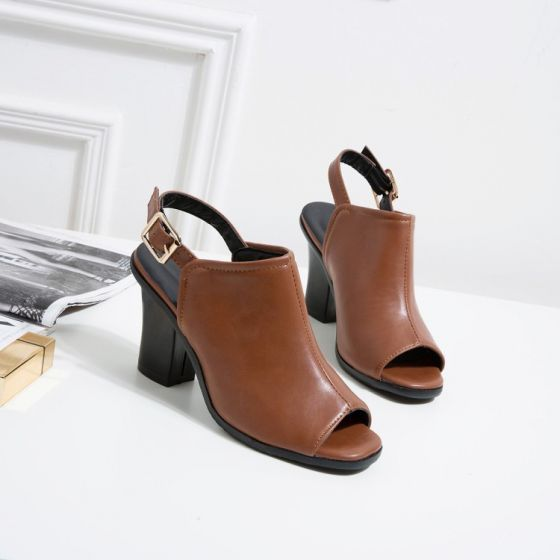 Roman Modest / Simple Brown Street Wear Womens Shoes 2020 8 cm Thick Heels Open / Peep Toe Sandals