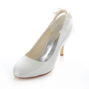 Elegant White Satin Bridal Shoes  Stiletto Heels Pumps With Bow Knot