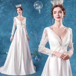 Elegant Ivory Satin Wedding Dresses 2020 A-Line / Princess V-Neck Lace Flower Long Sleeve Backless Sweep Train