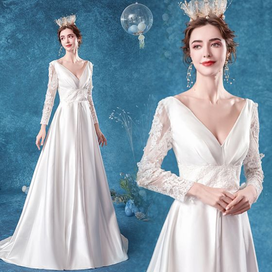 Elegant Ivory Satin Wedding Dresses 2020 A-Line / Princess V-Neck Lace Flower Long Sleeve Backless Sweep Train