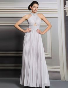 2015 Silver Halter Beading Pleated Long Evening Dress Party Dress