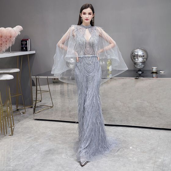 Illusion High-end Grey Red Carpet See-through Evening Dresses  With Shawl 2020 Trumpet / Mermaid Deep V-Neck Sleeveless Feather Beading Sweep Train Ruffle Backless Formal Dresses