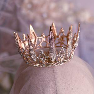 Eleganta Rosa Guld Brud Huvudbonad 2019 Metall Rhinestone Tiara Bröllop Tillbehör