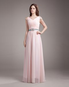 V Neck Pleated Sash Beading Floor Length Chiffon Woman Evening Dress