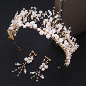 Piękne Złote Biżuteria Ślubna 2019 Metal Tiara Kolczyki Kość Słoniowa Perła Kryształ Rhinestone Frezowanie Ślub Akcesoria