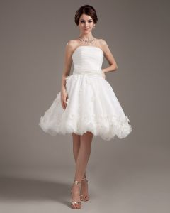 Applique Ruffles Yarn Sleeveless Strapless Short Mini Wedding Dresses