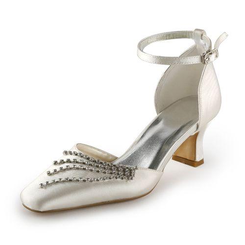 Escarpins Élégante Pointue Satin Orteil Mi Talons De Champagne Chaussures De Mariée De Mariage Avec Strass