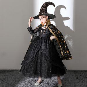 Halloween Cosplay Zwarte Bloemenmeisjes Jurken Met Sjaal 2020 Baljurk Ronde Hals Lange Mouwen Appliques Kant Enkellange Ruche