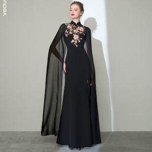 Kinesisk Stil Sorte Selskabskjoler 2020 Havfrue Høj Hals Applikationsbroderi Med Blonder Kort Ærme Split Foran Lange Kjoler