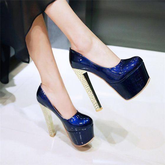 Chic / Belle Bleu Marine 2017 Chaussure De Mariée 15 cm Cocktail Soirée Rayé À Bout Pointu Talons Aiguilles