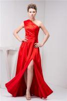 2015 Classic One Shoulder Ruffle Sash Long Prom Dress Red Formal Dress
