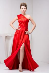 2015 Classic One Shoulder Ruffle Sash Long Prom Dress Red Formal Dress