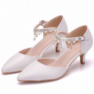 Chic / Beautiful White Wedding Shoes 2018 Pearl Rhinestone Tassel 5 cm Stiletto Heels Pointed Toe Wedding High Heels