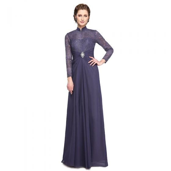 Luxury / Gorgeous Purple Mother Of The Bride Dresses 2020 A-Line / Princess Floor-Length / Long High Neck Long Sleeve Backless Embroidered Handmade  Wedding Wedding Party Dresses