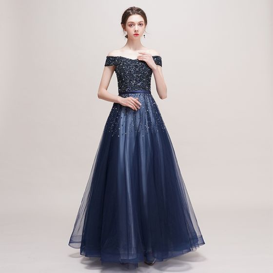 Luxury   Gorgeous Navy Blue Prom Dresses 2018 A-Line   Princess Off-The- Shoulder Short Sleeve Beading ... cde1b996c
