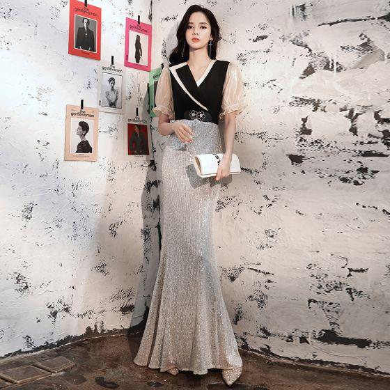 Dwa kolory Czarne Srebrny Sukienki Wieczorowe 2020 Syrena / Rozkloszowane V-Szyja Bufiasta Kótkie Rękawy Cekiny Długie Sukienki Wizytowe