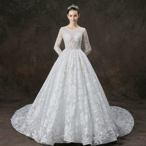 Illusion White See-through Wedding Dresses 2019 A-Line / Princess Scoop Neck Long Sleeve Appliques Lace Pearl Beading Cathedral Train Ruffle