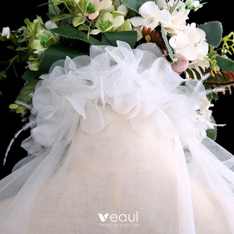 Modern / Fashion White Short Wedding Veils Feather Tassel Chiffon Wedding Accessories 2019