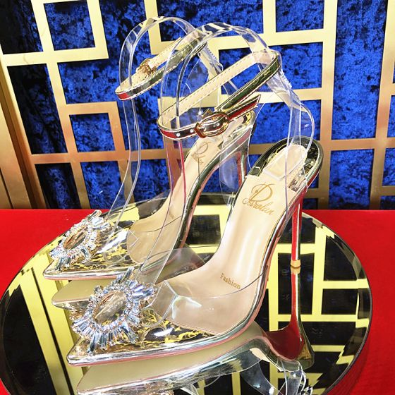 Sexy Gold Evening Party Womens Sandals 2020 Ankle Strap Rhinestone 10 cm Stiletto Heels Pointed Toe Sandals