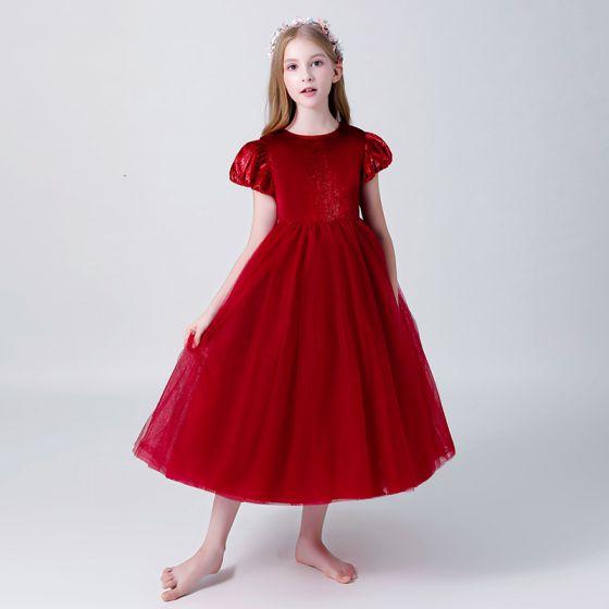 Piękne Burgund Zamszowe Sukienki Dla Dziewczynek 2019 Princessa Wycięciem Bufiasta Kótkie Rękawy Długość Herbaty Wzburzyć Sukienki Na Wesele