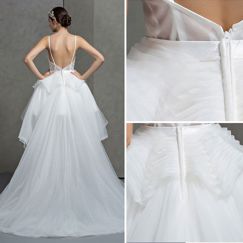 Romantic White Spaghetti Straps Wedding Dresses A-Line / Princess Sleeveless 2017 Backless Asymmetrical Ruffle Organza