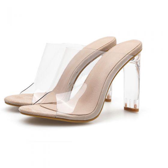 Sexy Aprikos Gjennomsiktig Gateklær Sandaler Dame 2020 11 cm Stiletthæler Peep Toe Sandaler