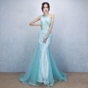 Schöne Elegante Blau Abendkleider 2017 Mermaid One-Shoulder Spitze Applikationen Perlenstickerei Handgefertigt Abend Festliche Kleider