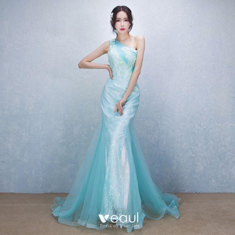 Schone Elegante Blau Abendkleider 2017 Mermaid One Shoulder Spitze Applikationen Perlenstickerei Handgefertigt Abend Festliche Kleider