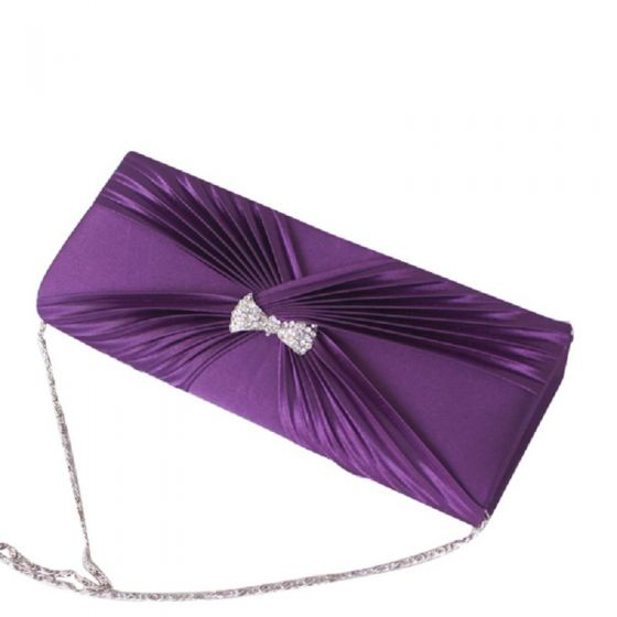 Amazing / Unique Purple Clutch Bags Beading Rhinestone X-Strap Velour Homecoming Cocktail Party Evening Party Accessories 2019