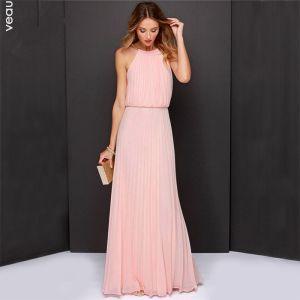 Elegant Perle Pink Chiffon Sommer Maxikjoler 2018 Stramme Halter Ærmeløs Lange Plisseret Tøj til kvinder