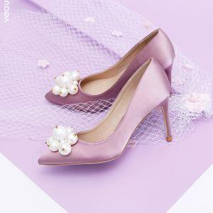 Dejlig Lavendel Brudepige Pumps 2020 Satin Perle 9 cm Stiletter Spidse Tå Pumps