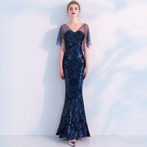 Sparkly Navy Blue See-through Evening Dresses  2019 Trumpet / Mermaid V-Neck Short Sleeve Rhinestone Sequins Floor-Length / Long Ruffle Backless Formal Dresses