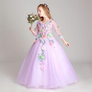 Blumenfee Lila Mädchenkleider 2017 Ballkleid V-Ausschnitt 3/4 Ärmel Applikationen Blumen Lange Rüschen Kleider Für Hochzeit