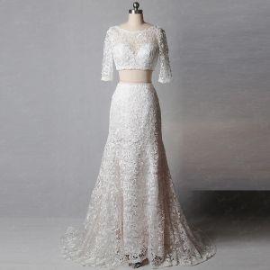 2 Stück Klassisch Elegante Ivory / Creme Hof-Schleppe Hochzeit 2018 Mermaid U-Ausschnitt Schnüren Applikationen Rückenfreies Stickerei Brautkleider