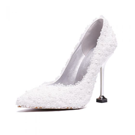Classy Ivory Lace Flower Wedding Shoes 2020 Pearl 9 cm Stiletto Heels Pointed Toe Wedding Pumps