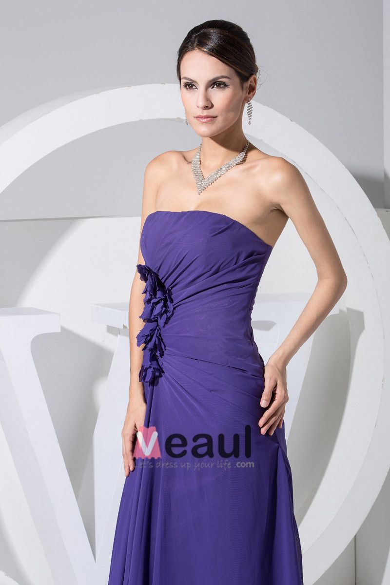 Chiffon Strapless Sleeveless Zipper Ruffle Floor Length Evening Dress