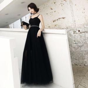 Modern / Fashion Black Evening Dresses  2019 A-Line / Princess Spaghetti Straps Sleeveless Backless Floor-Length / Long Formal Dresses