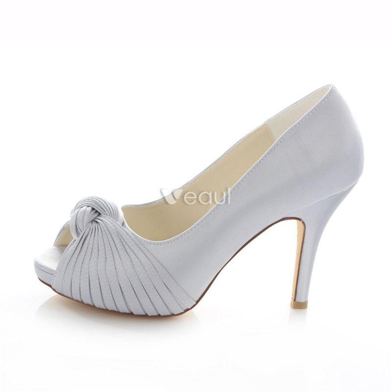 Classic Silver Satin Bridal Shoes Stiletto Heels Pumps 4 Inch High Heel Peep Toe