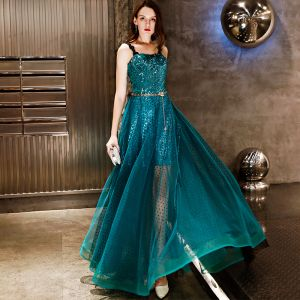 Charming Ink Blue Evening Dresses  2019 A-Line / Princess Spotted Metal Sash Sequins Lace Spaghetti Straps Sleeveless Backless Floor-Length / Long Formal Dresses