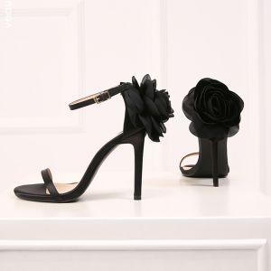 Schöne Schwarz Abend Sandalen Damen 2019 Leder Knöchelriemen Blumen 10 cm Stilettos Peeptoes Sandaletten