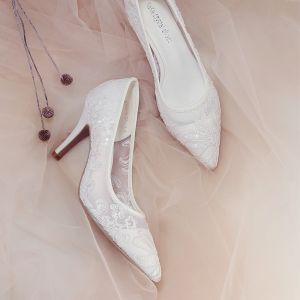 Chic / Beautiful Ivory Wedding Shoes 2018 Lace Sequins 8 cm Stiletto Heels Pointed Toe Wedding High Heels