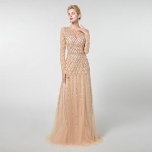High-end Champagne Evening Dresses  2019 A-Line / Princess Scoop Neck Long Sleeve Handmade  Beading Floor-Length / Long Formal Dresses