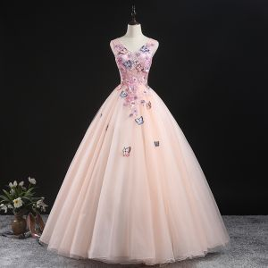 Chic / Beautiful Pearl Pink Prom Dresses 2020 Ball Gown V-Neck Sleeveless Butterfly Appliques Lace Beading Floor-Length / Long Ruffle Formal Dresses
