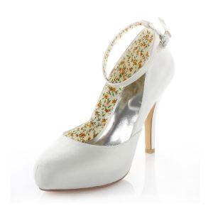 Klassische Satin Brautschuhe Weiße Stilettos Pumps 10cm Hohen Absatz Peep Toe